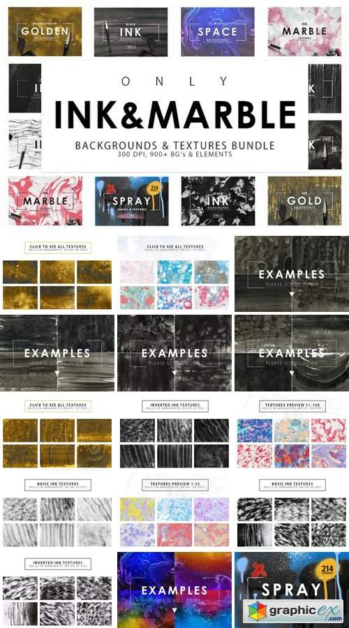 Only Ink & Marble Backgrounds Bundle 2352589
