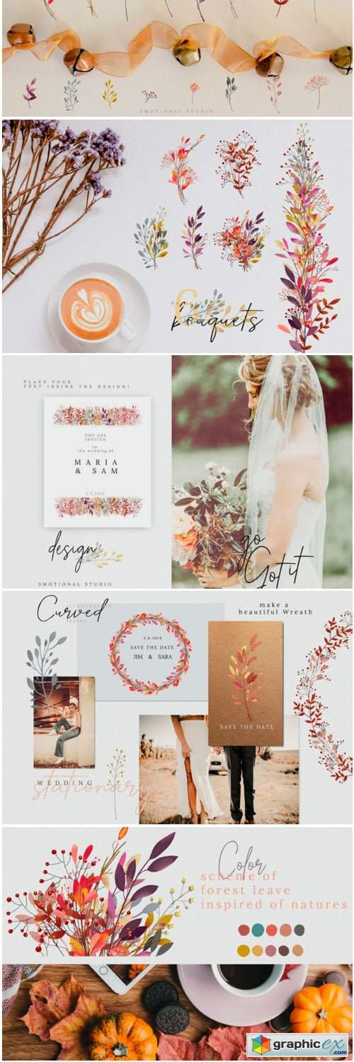 Fall in Love Watercolor Collection