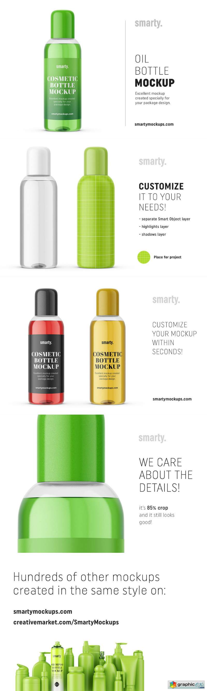 Cosmetic oil bottle mockup