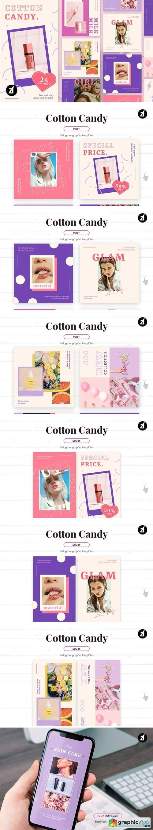 Cotton candy social media templates » Free Download Vector