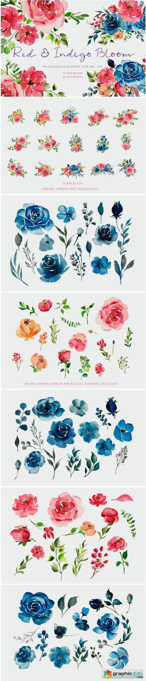 Handpainted Red & Indigo Flowers