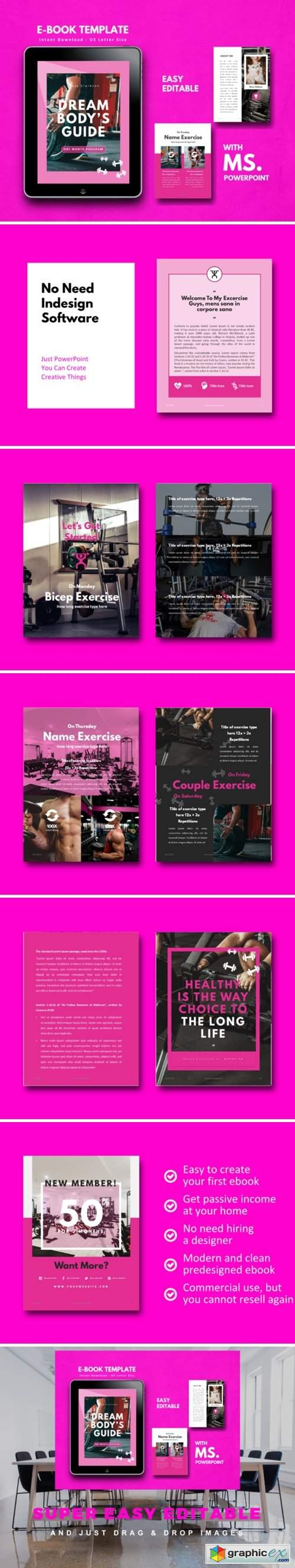 Fitness Girl EBook Template PowerPoint