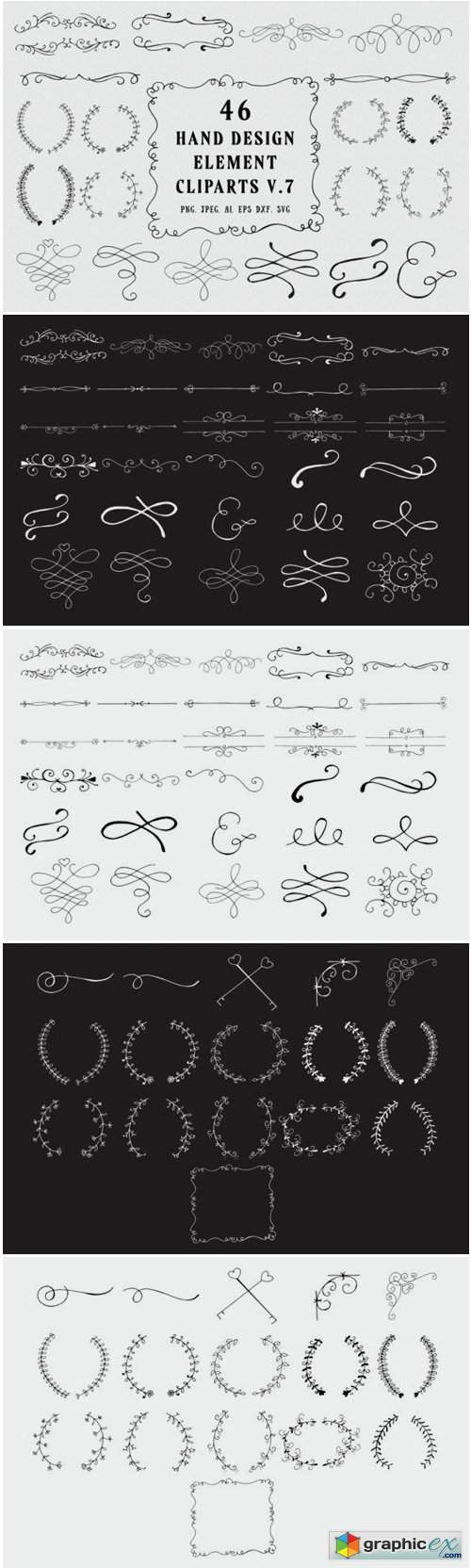 45+ Hand Design Element Clipart Ver. 7