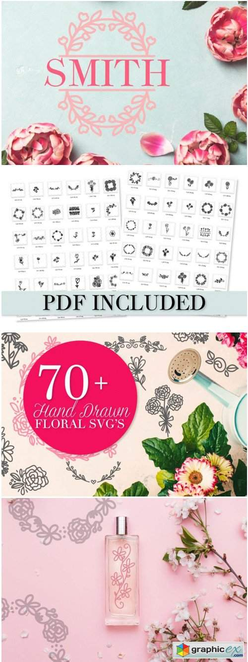 Over 70 Floral SVG's Hand Drawn