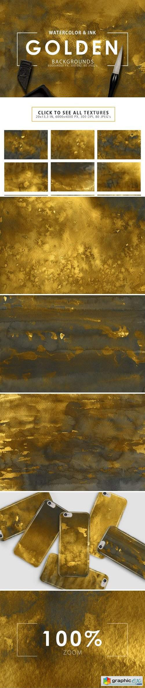 80 Golden Watercolor & Ink Backgrounds