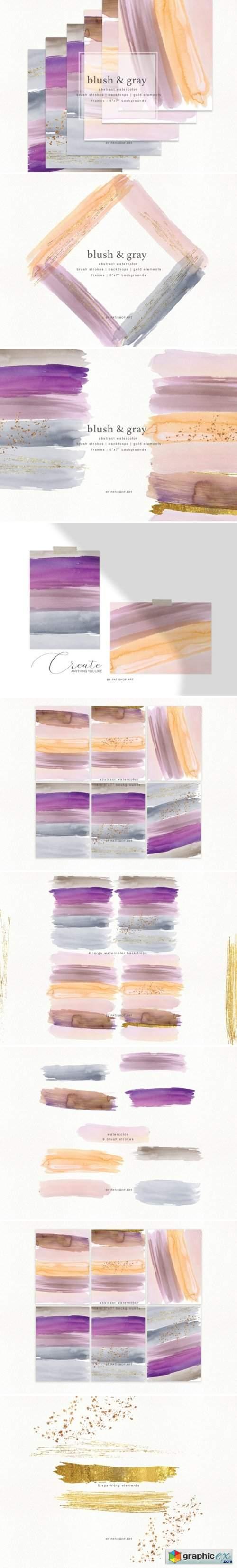 Abstract Watercolor Backdrops & Strokes