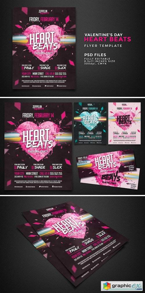Heart Beats Party Flyer Template