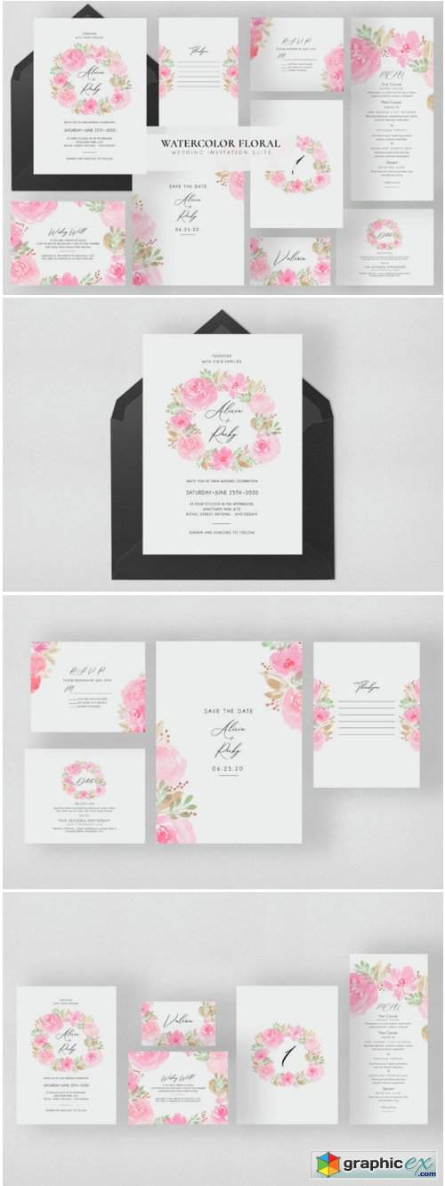 Watercolor Floral Wedding Suite 1730585