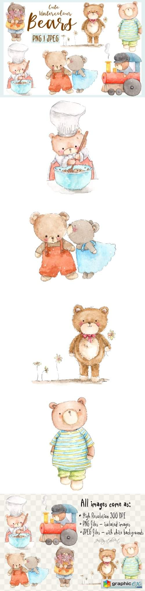 Cute Watercolour Bears