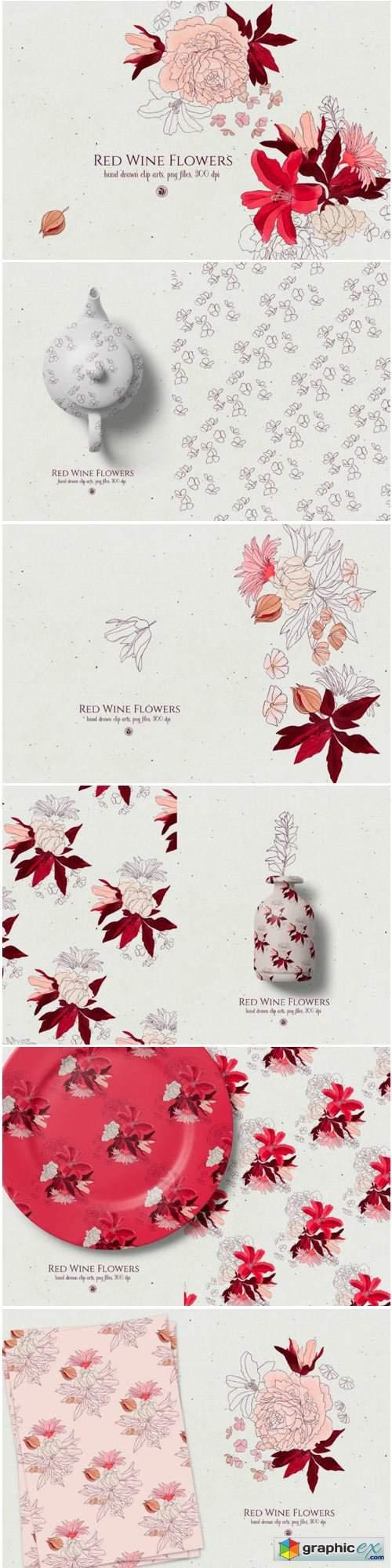 Red Wine Flowers 1736662