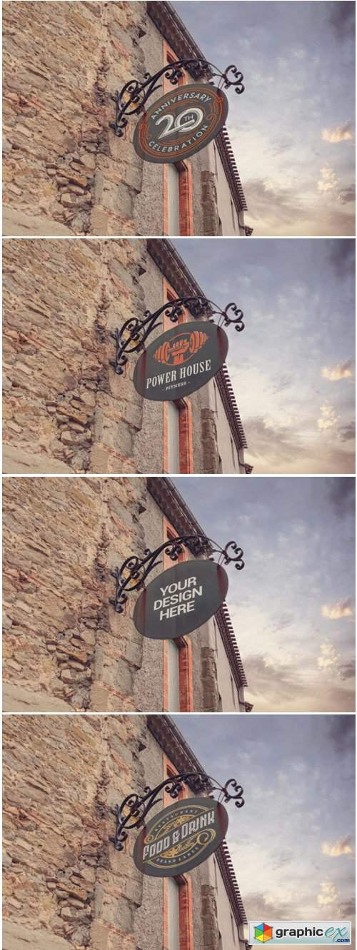 Wrought Iron Signboard Mockup