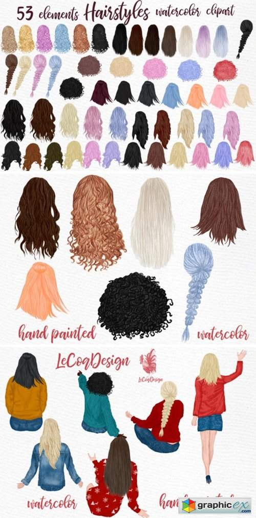 Hairstyles Clipart, Girls Clipart
