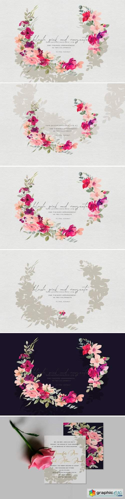 Hand Painted Watercolor Floral Wreath