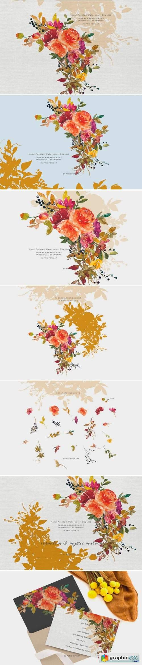 Autumn Colors Floral Clipart