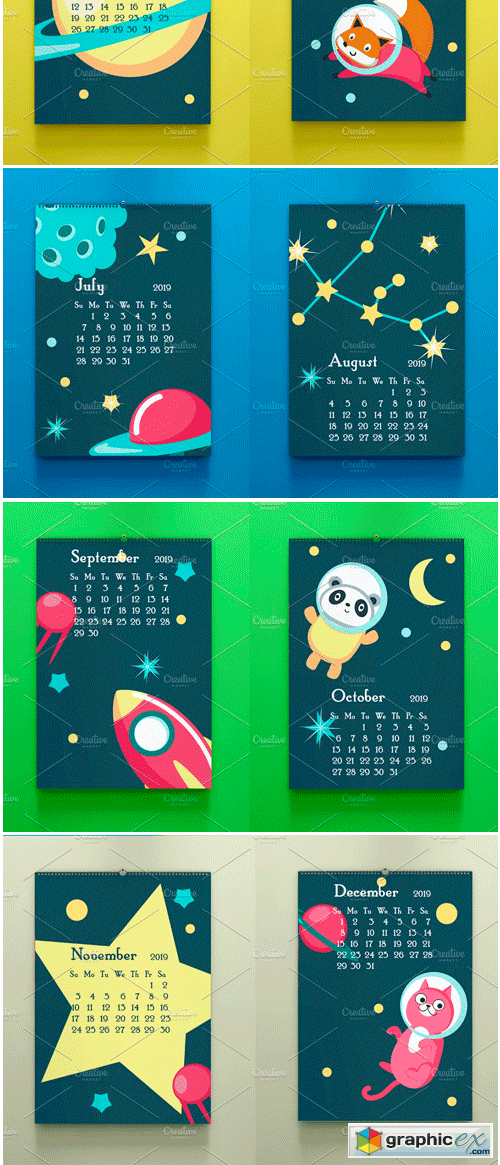 Space Calendar Animal Austronauts