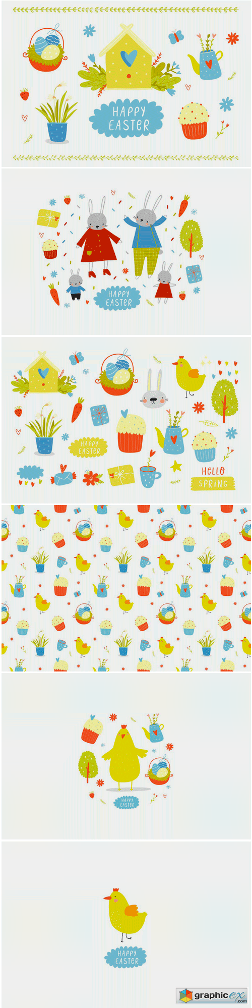 Happy Easter Vector Set with Bunny