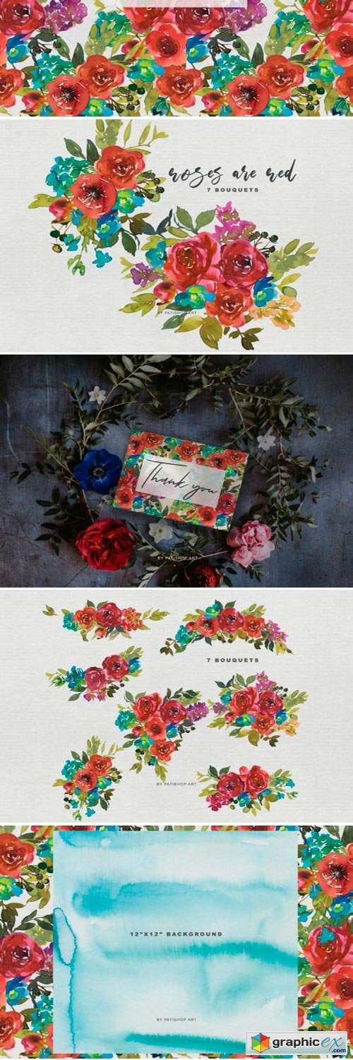 Watercolor Red Roses Bouquet Clipart