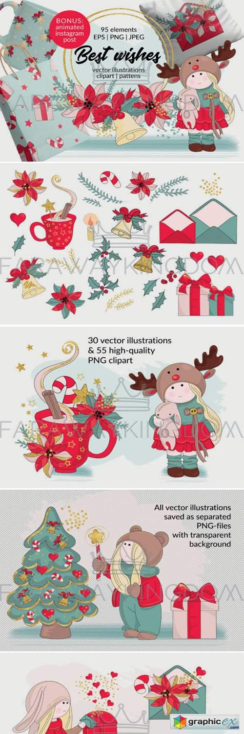 BEST WISHES Vector Pattern Animation Set