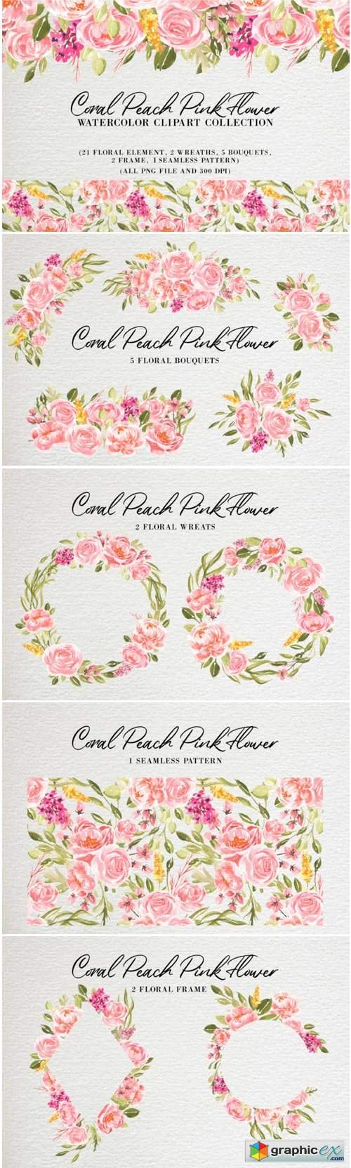 Coral Peach Pink Flower Watercolor