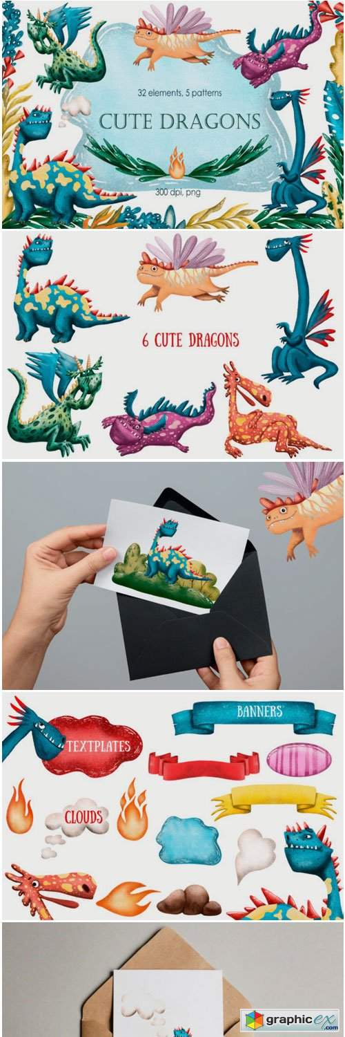 Cute Dragons Clip Art Set