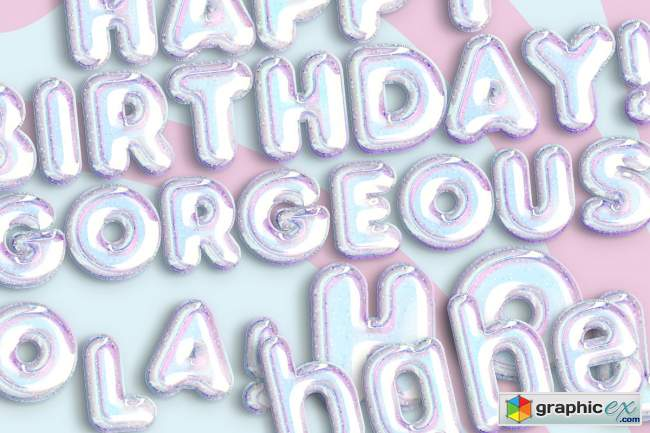 HOLOGRAPHIC BALLOON TEXT EFFECT