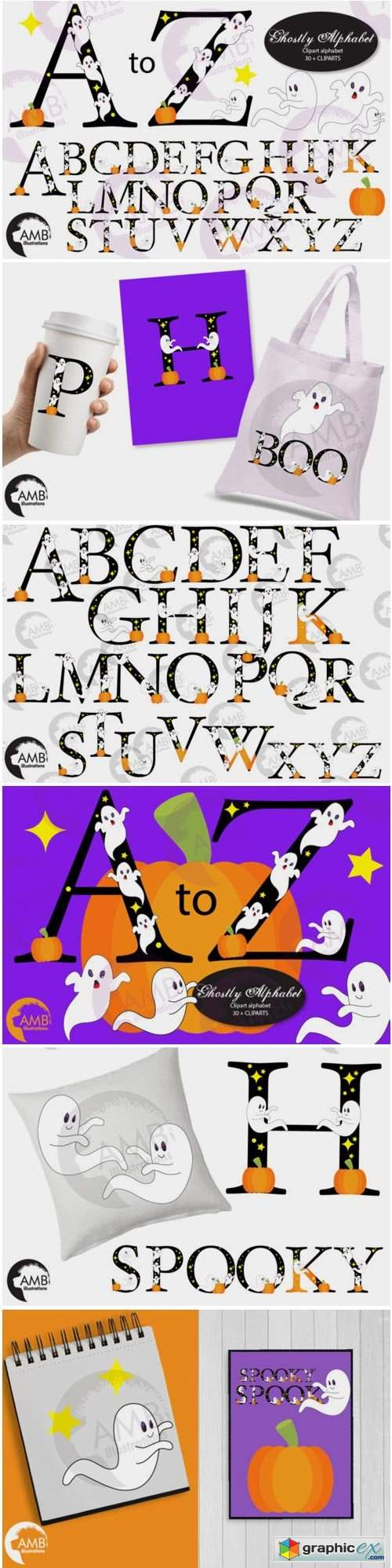 Ghostly Fonts Clipart Pack