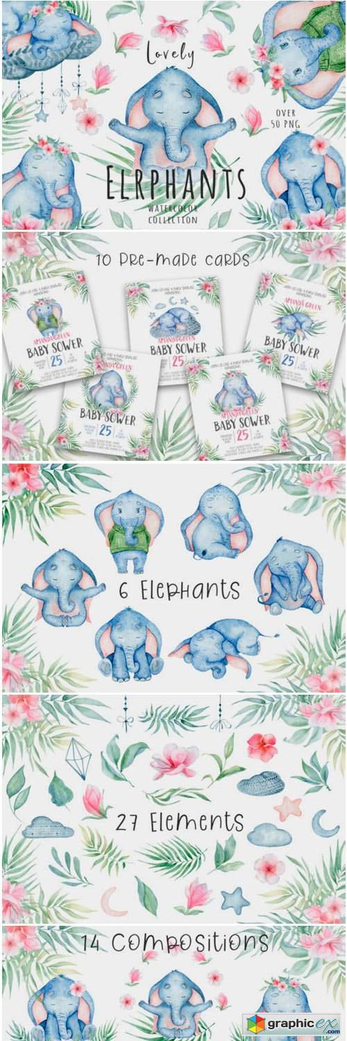 Lovely Elephants Watercolor Set Animals