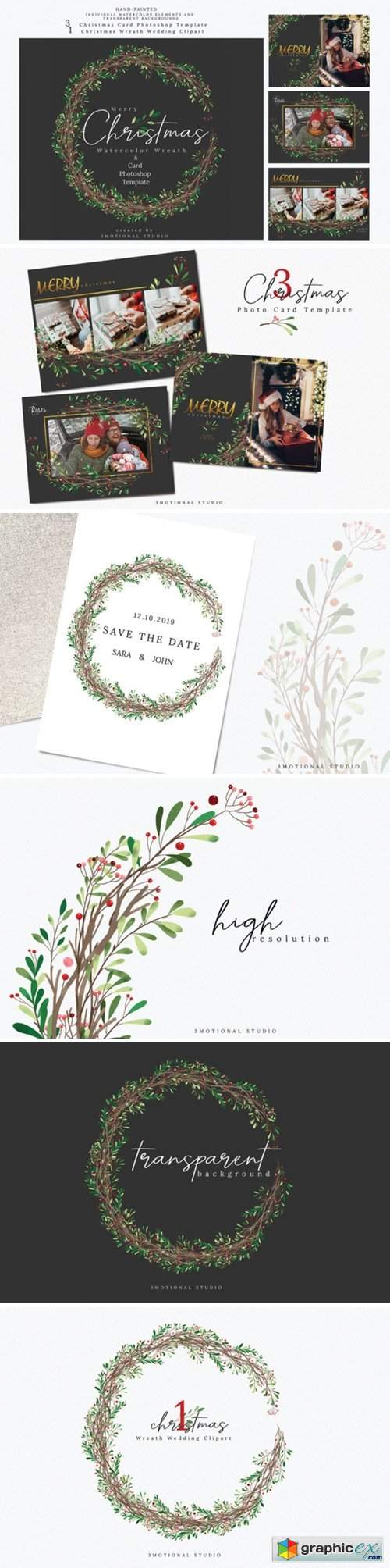 Christmas Photo Card Mockup Template