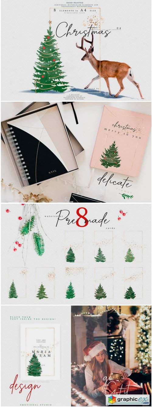 Christmas Watercolor Tree Cards 04