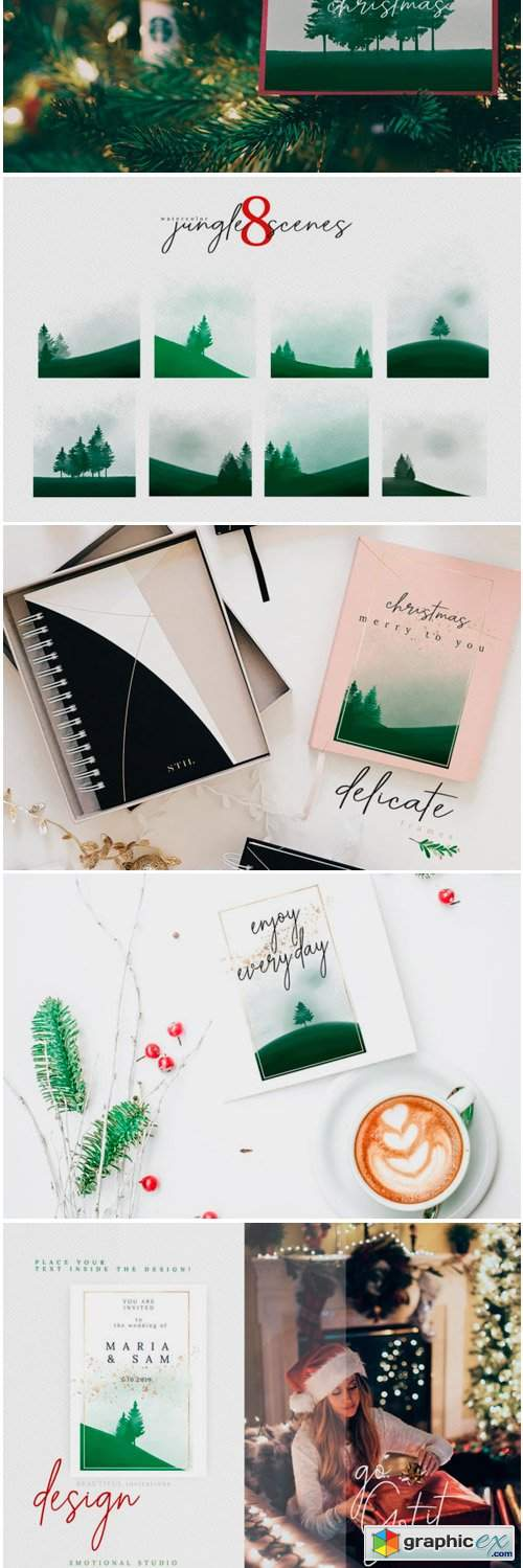 Christmas Watercolor Tree Cards