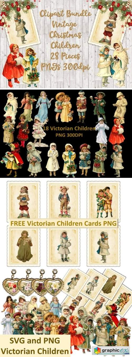 Vintage Christmas Children Clipart Set