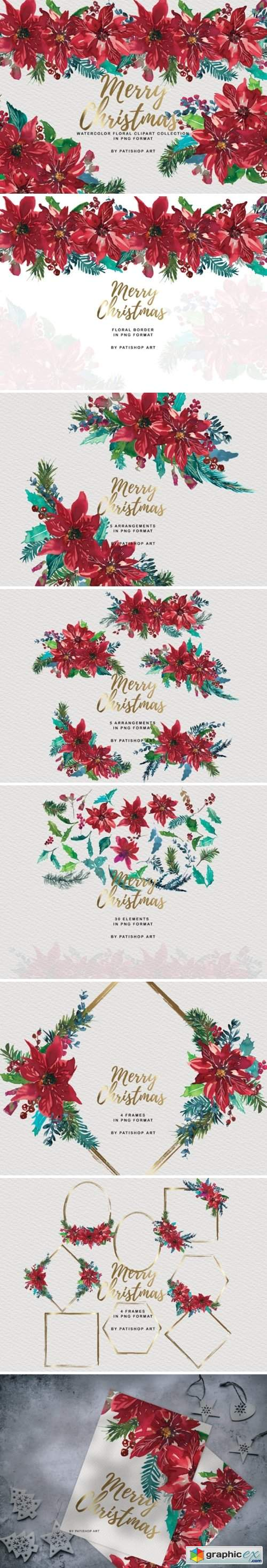 Watercolor Poinsettia Christmas Clipart