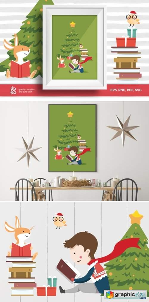 Christmas Card A6 & Vector Elements