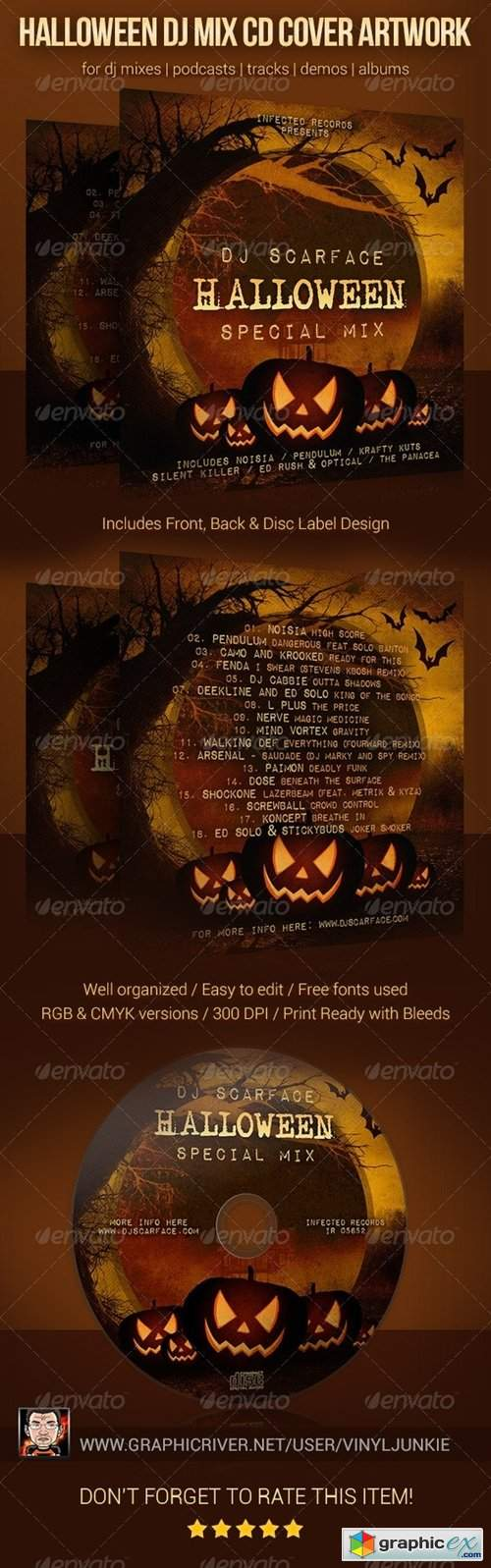 Halloween DJ Mix CD Cover Artwork Template
