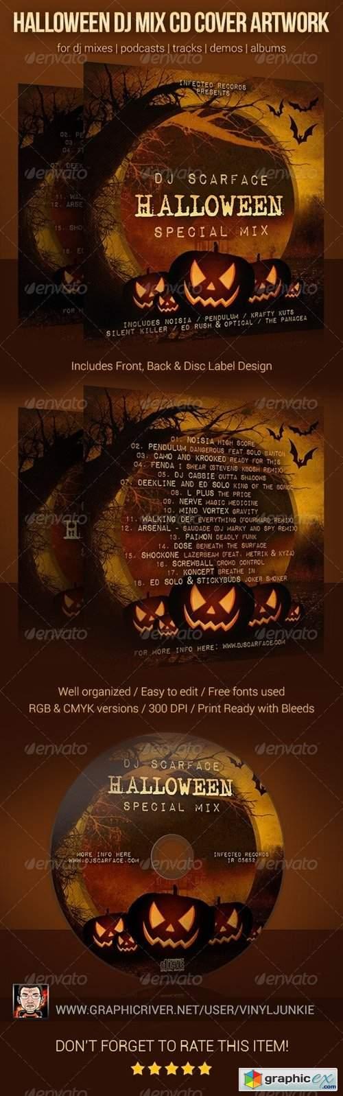 Halloween DJ Mix CD Cover Artwork Template