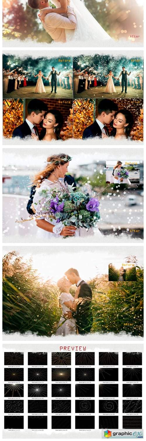 100 Wedding Sparklers Photoshop Overlays