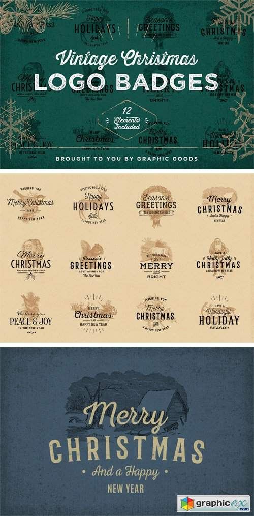 Vintage Christmas Logo Badges 2100352
