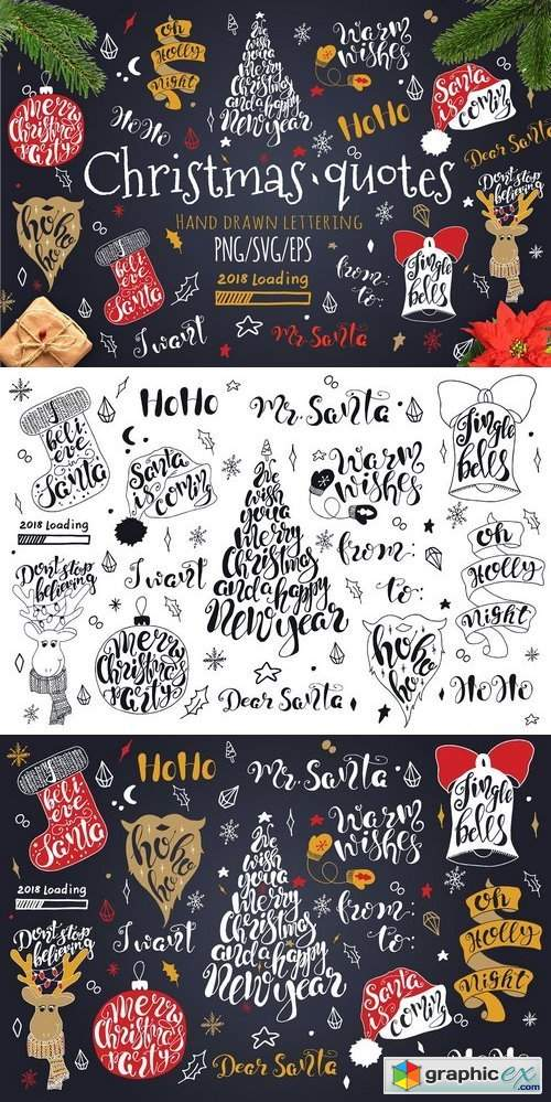 Merry Christmas quotes Lettering set
