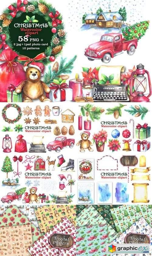 Watercolor Christmas Clipart 2016923