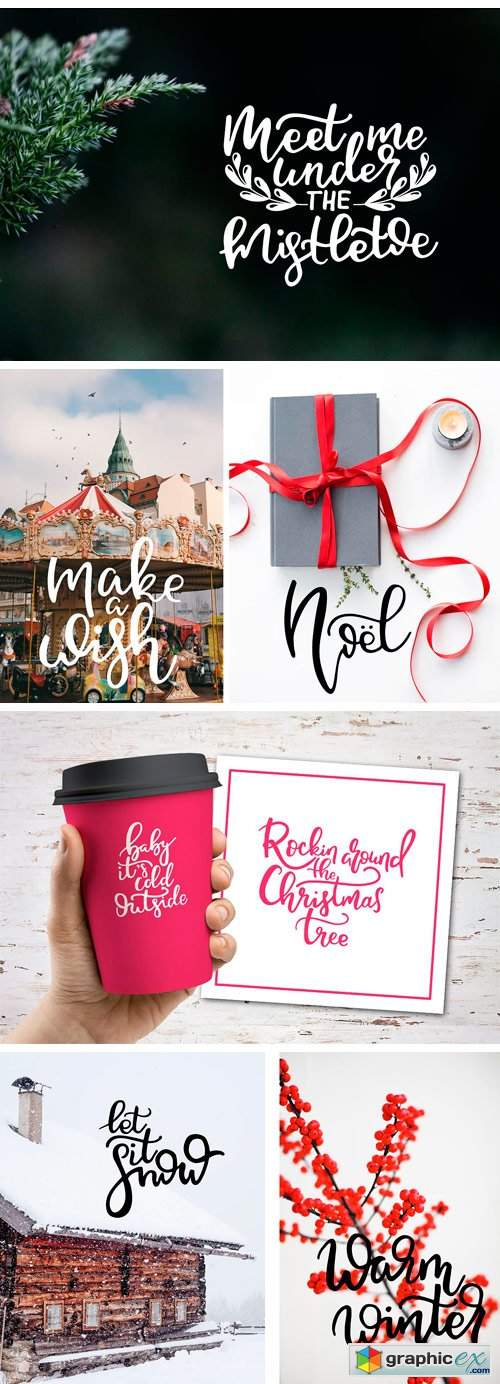 Winter Lettering Overlays