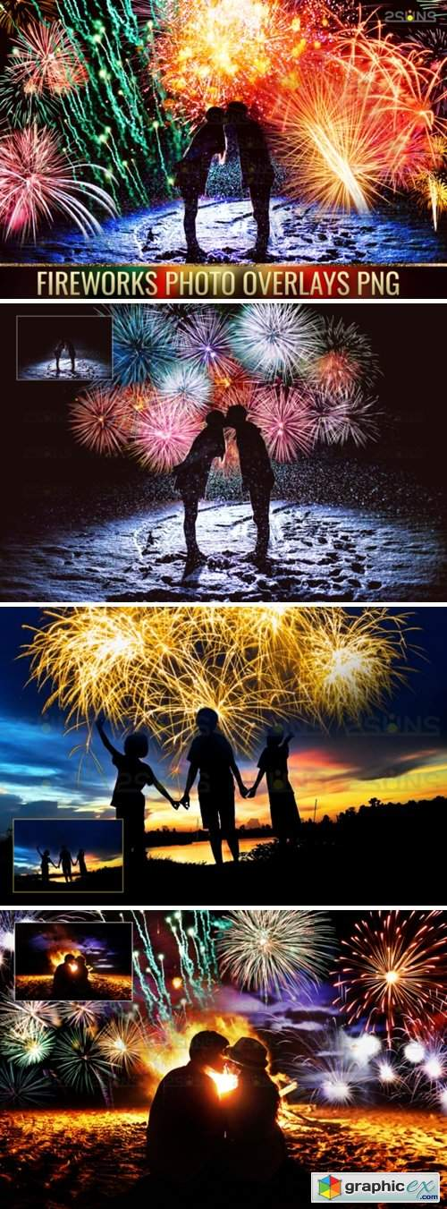 Holiday Fireworks Overlays Png Photoshop 1949604
