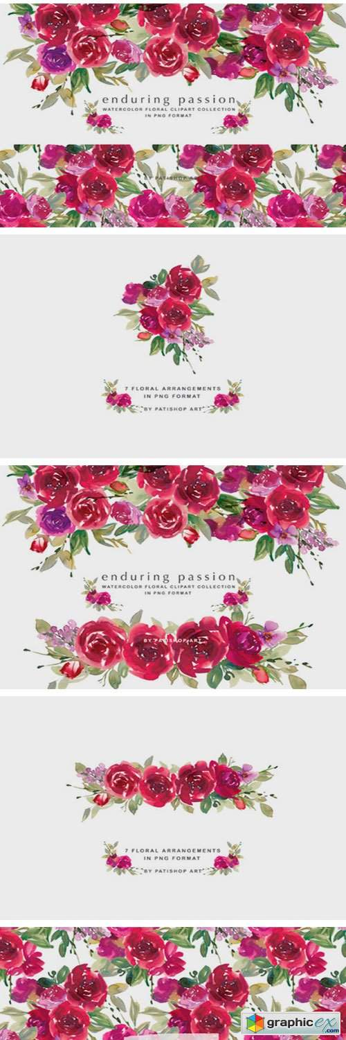 Red Watercolor Rose Clipart Set