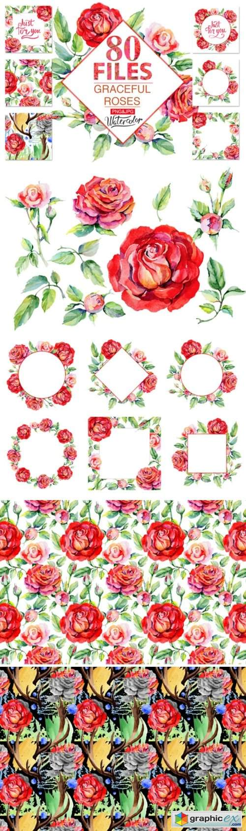 Roses Red PNG Watercolor