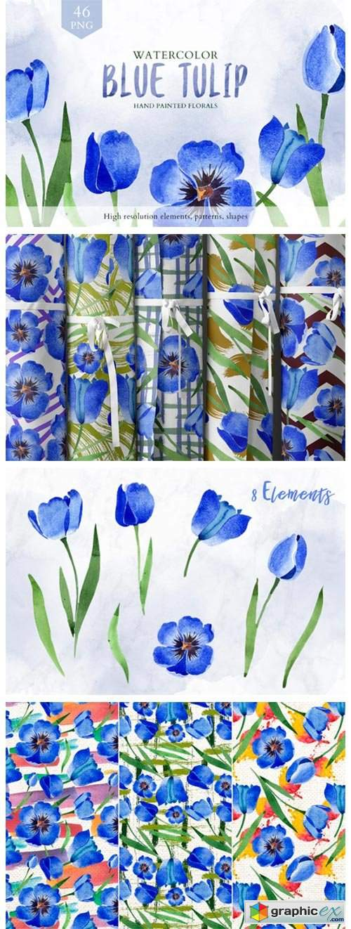 Tulip Watercolor Clipart Blue Png