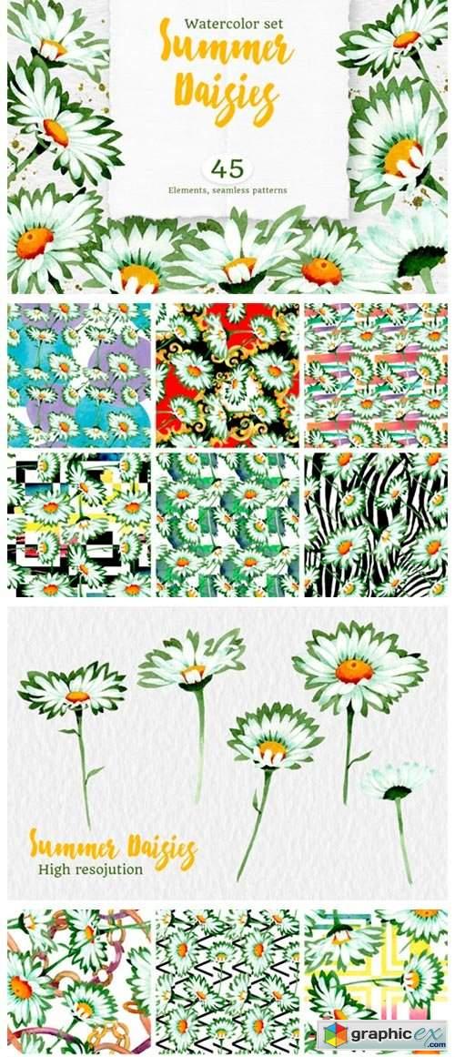 Watercolor Daisy White Flower