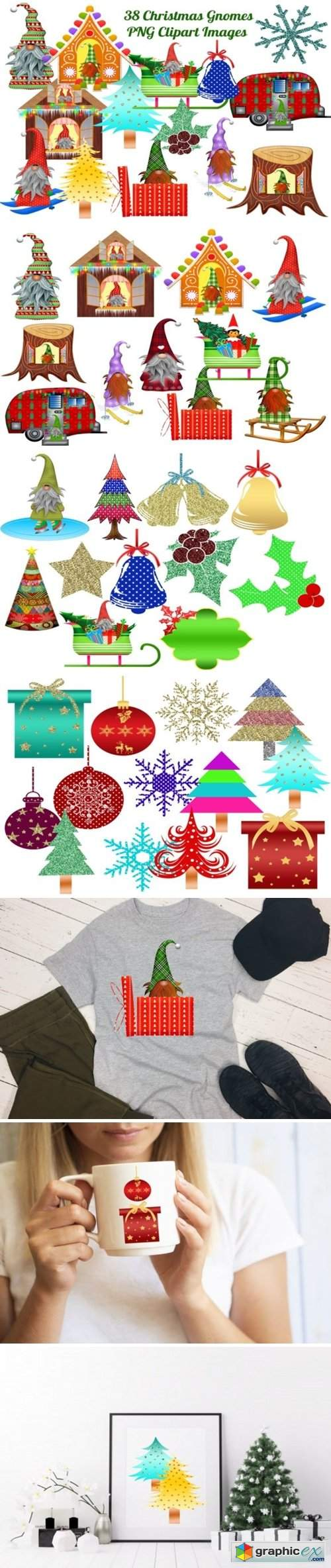 38 Christmas Gnomes Clip Art Images