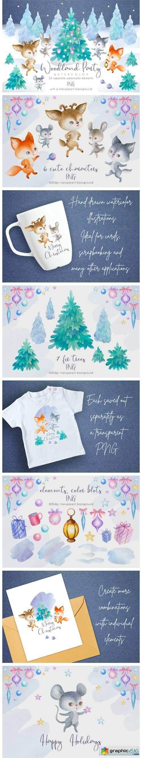 Woodland Party. Watercolor Christmas Set