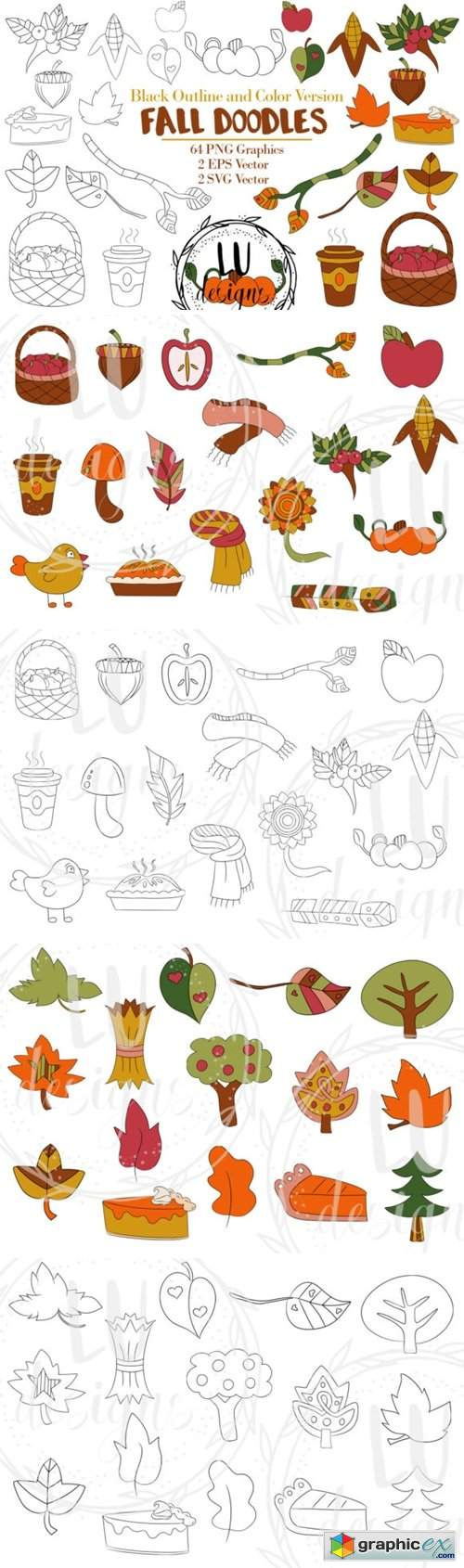 Fall Doodles Clipart, Autumn Graphics