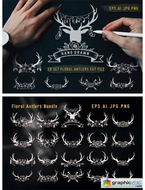 Deer Antlers with Floral Cut Files