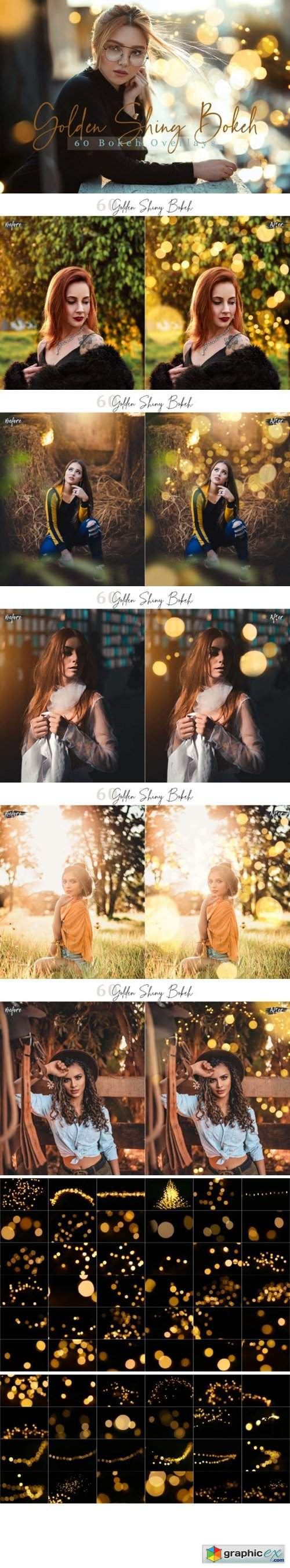 60 Golden Shiny Bokeh Lights Overlays